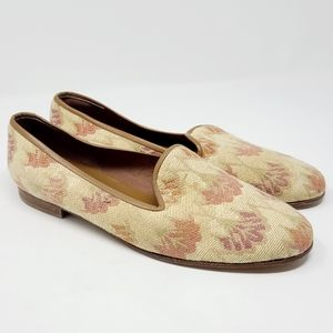 Zalo Cream Floral Print Fabric Slip-on Loafers 9.5
